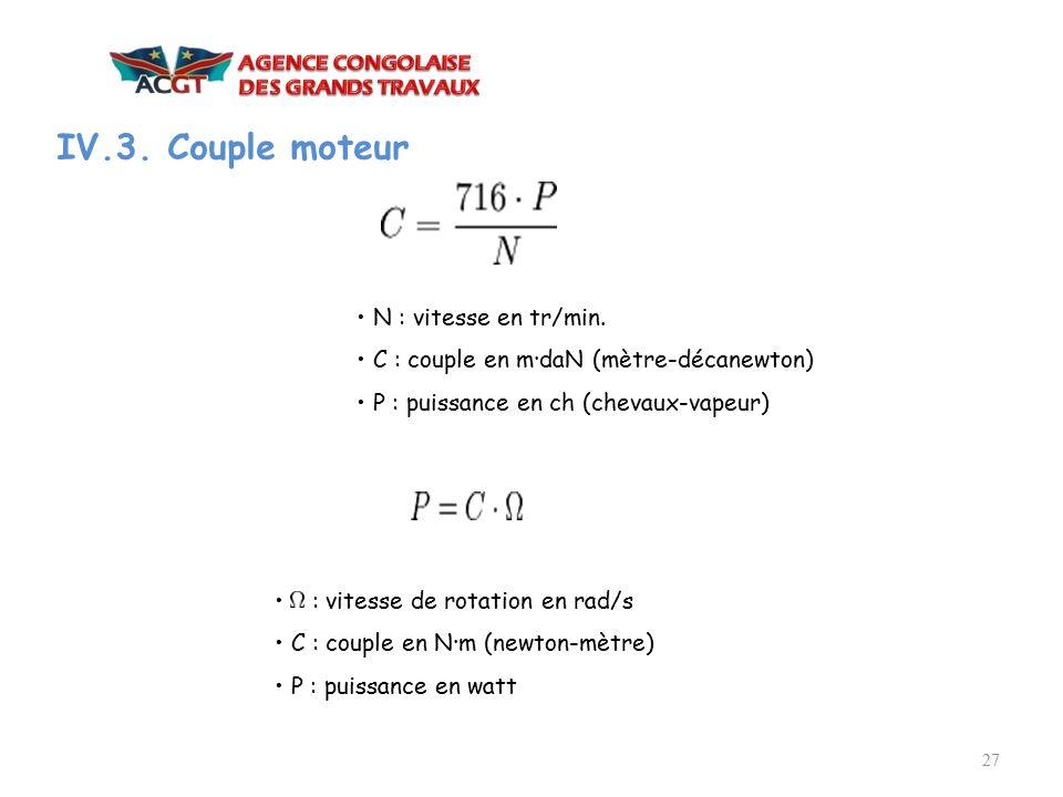 IV.3. Couple moteur • N : vitesse en tr/min.