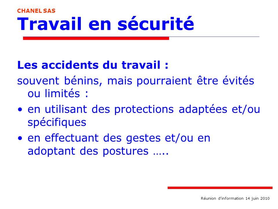 Travail en sécurité Les accidents du travail :