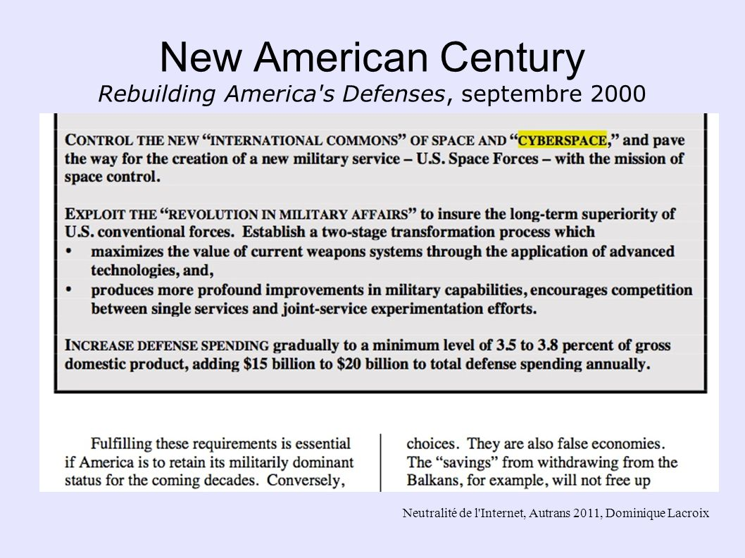New American Century Rebuilding America s Defenses, septembre 2000