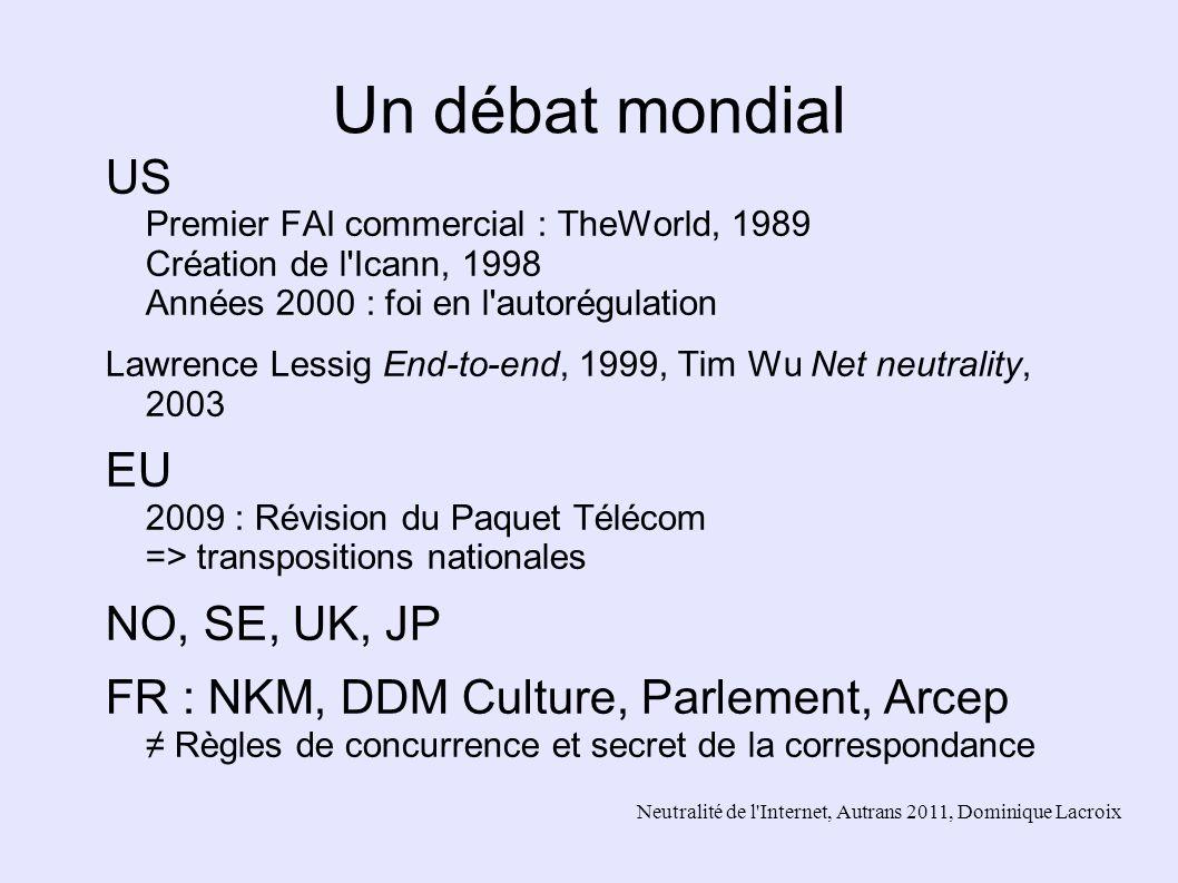 Un débat mondial US Premier FAI commercial : TheWorld, 1989 Création de l Icann, 1998 Années 2000 : foi en l autorégulation.