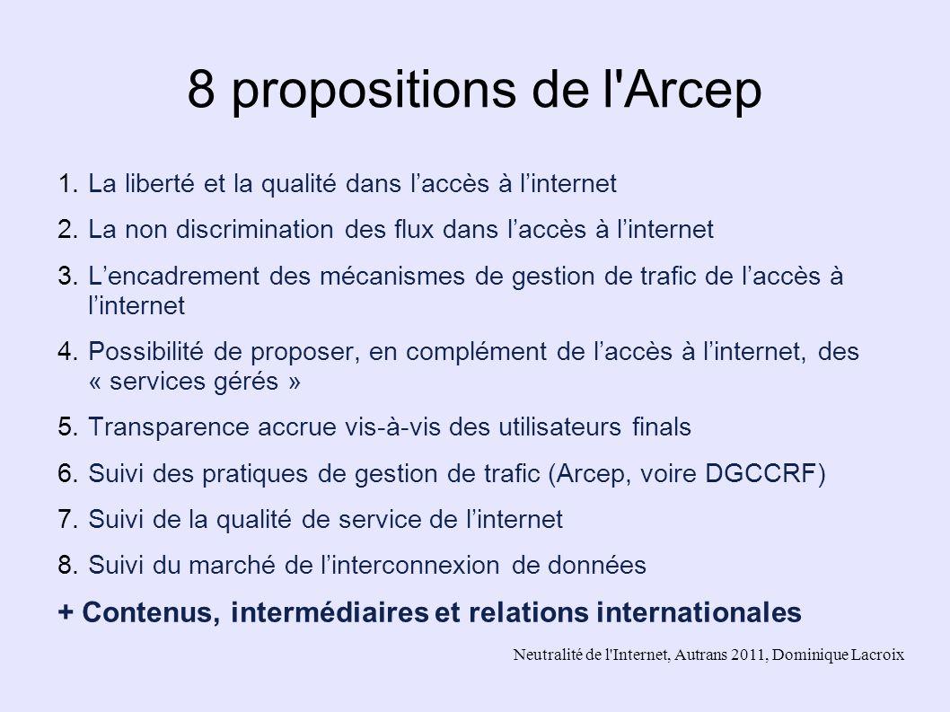 8 propositions de l Arcep