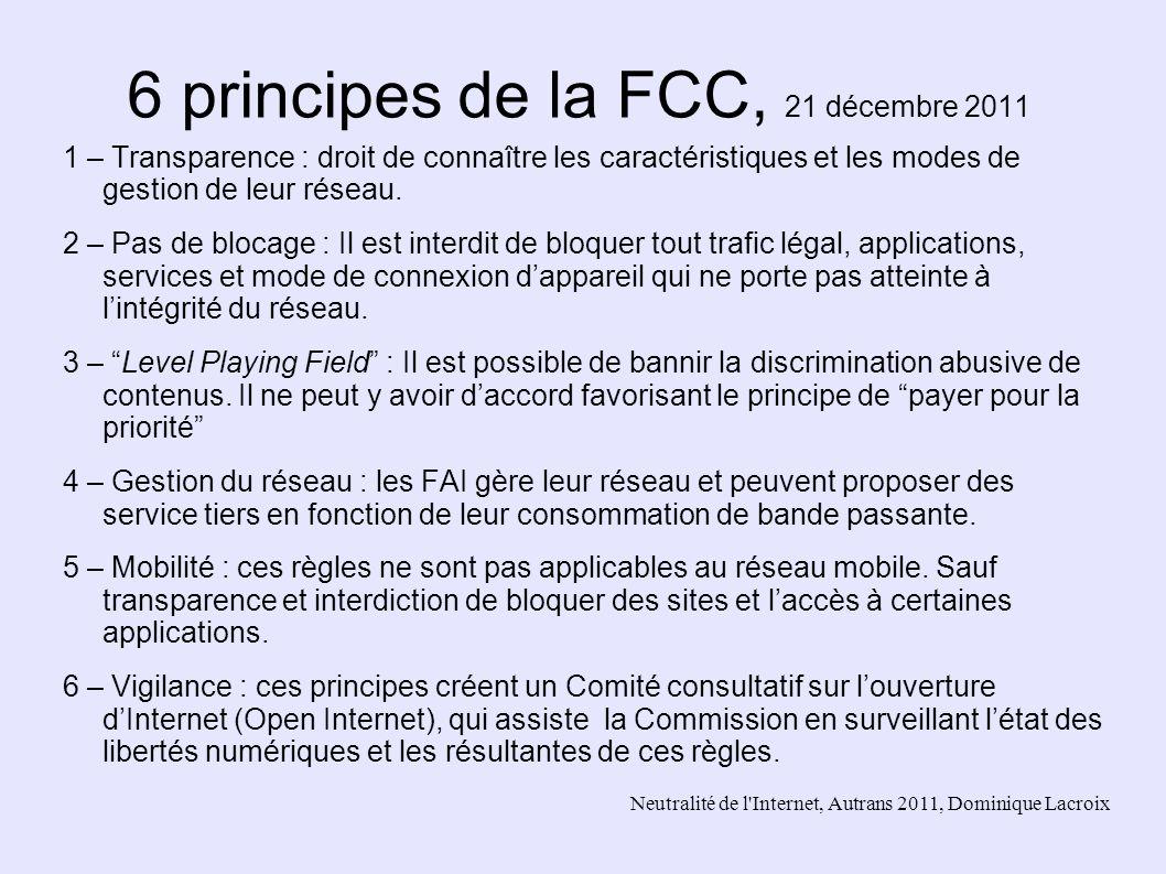 6 principes de la FCC, 21 décembre 2011