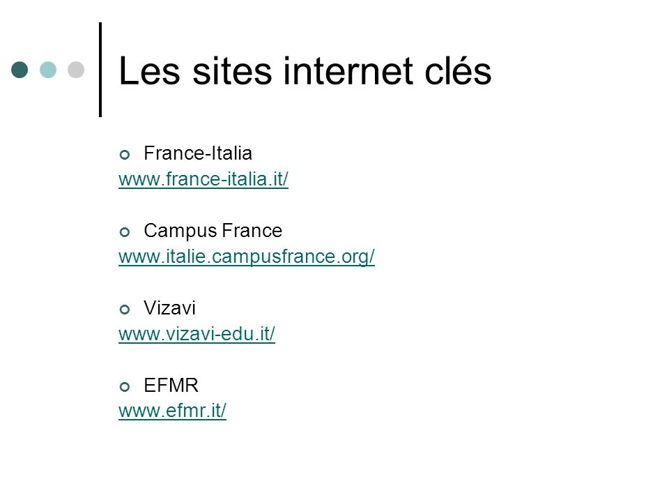 Les sites internet clés
