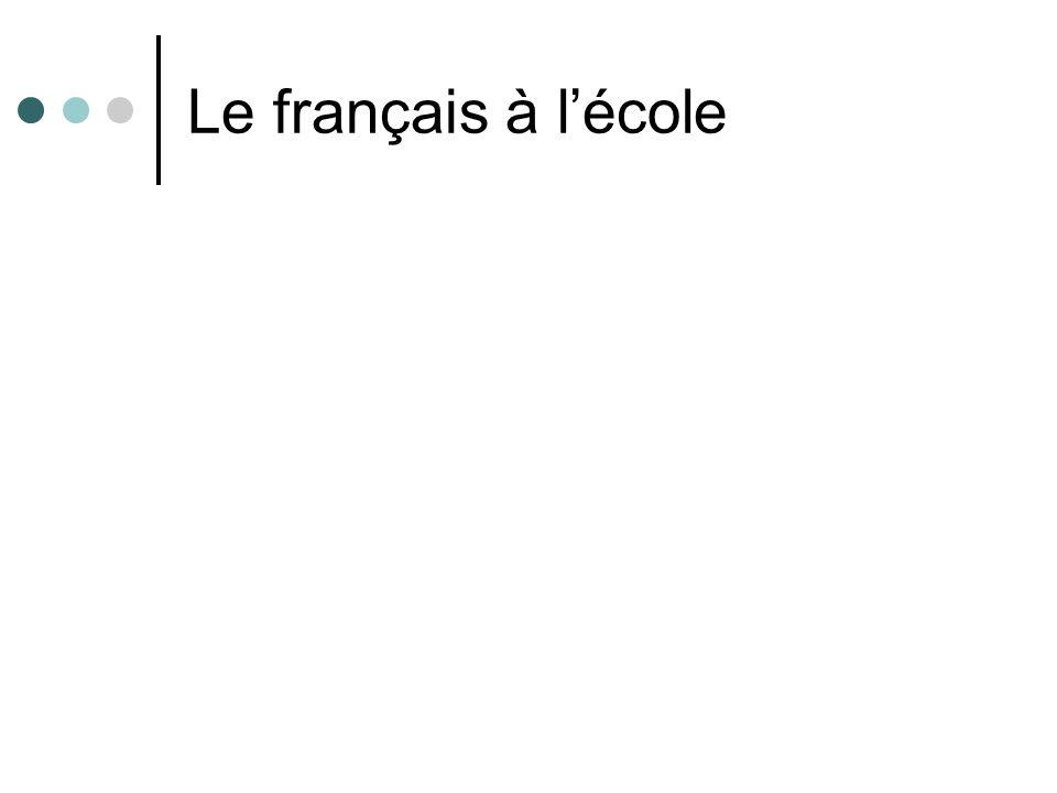 Le français à l'école
