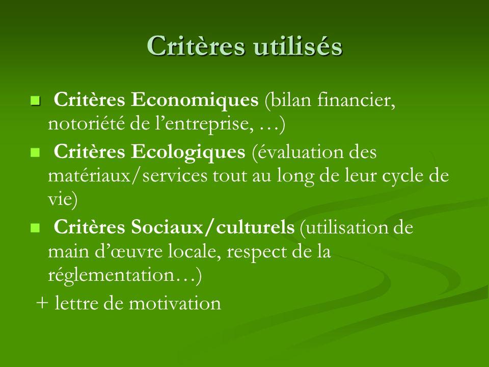 Critères utilisés Critères Economiques (bilan financier, notoriété de l'entreprise, …)