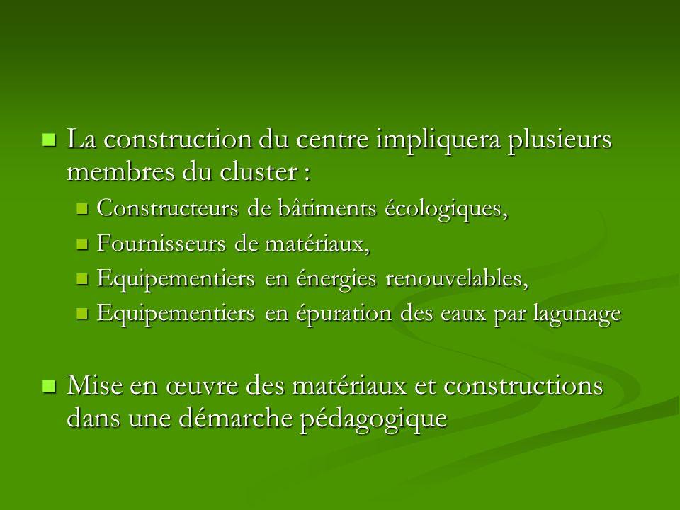 La construction du centre impliquera plusieurs membres du cluster :