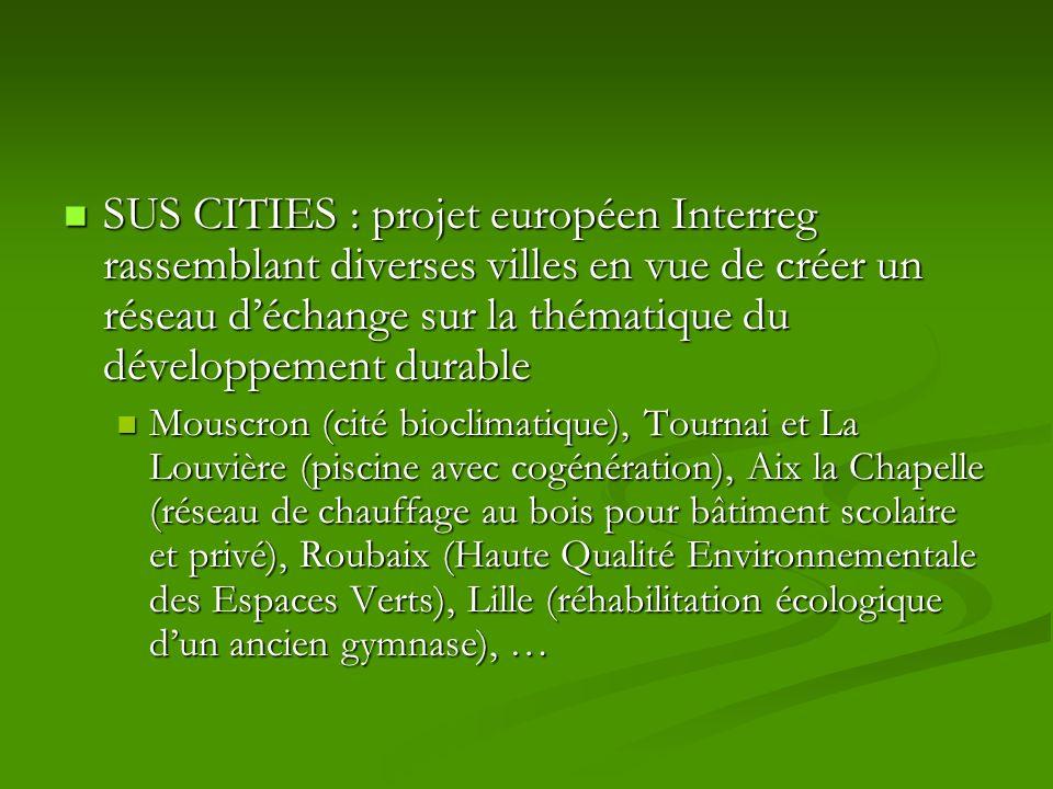 SUS CITIES : projet européen Interreg rassemblant diverses villes en vue de créer un réseau d'échange sur la thématique du développement durable