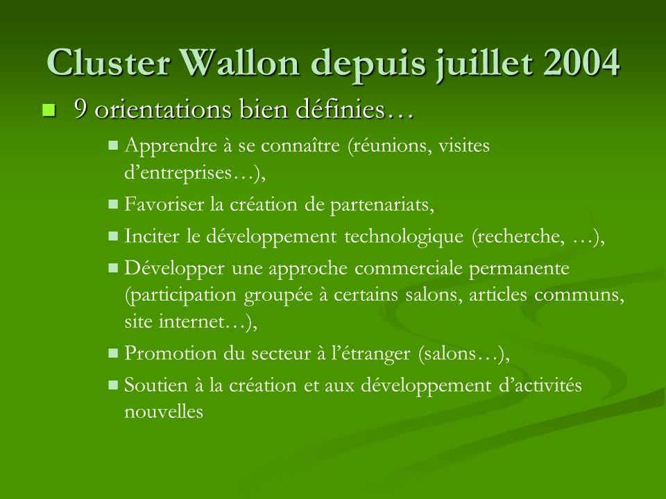 Cluster Wallon depuis juillet 2004