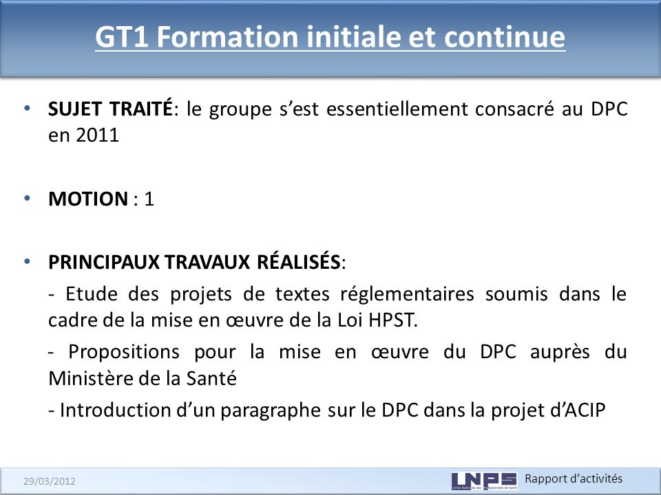 GT1 Formation initiale et continue
