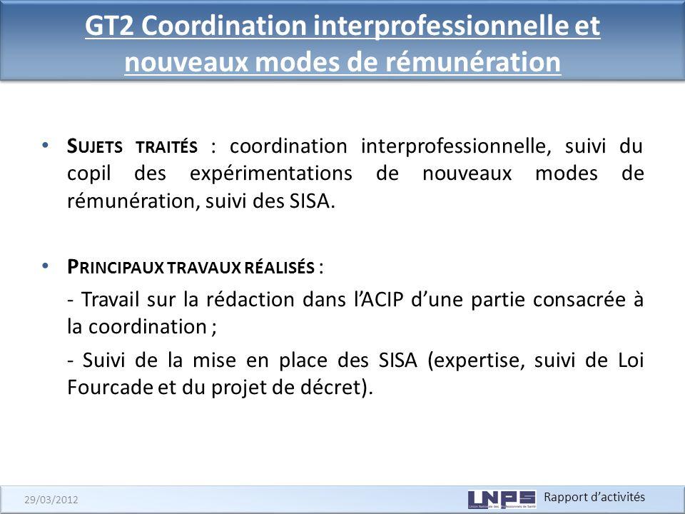 GT2 Coordination interprofessionnelle et nouveaux modes de rémunération