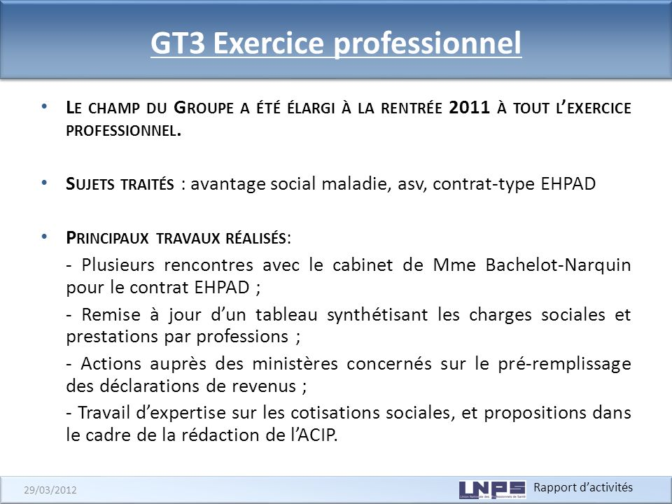 GT3 Exercice professionnel