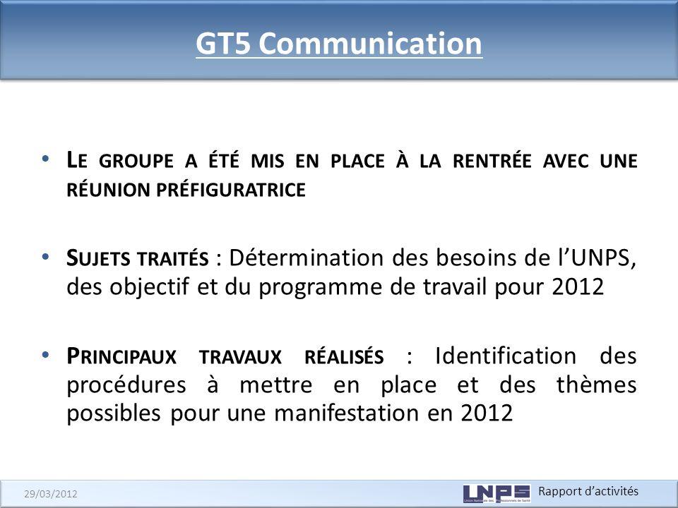 GT5 Communication Le groupe a été mis en place à la rentrée avec une réunion préfiguratrice.