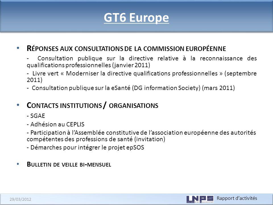 GT6 Europe Réponses aux consultations de la commission européenne