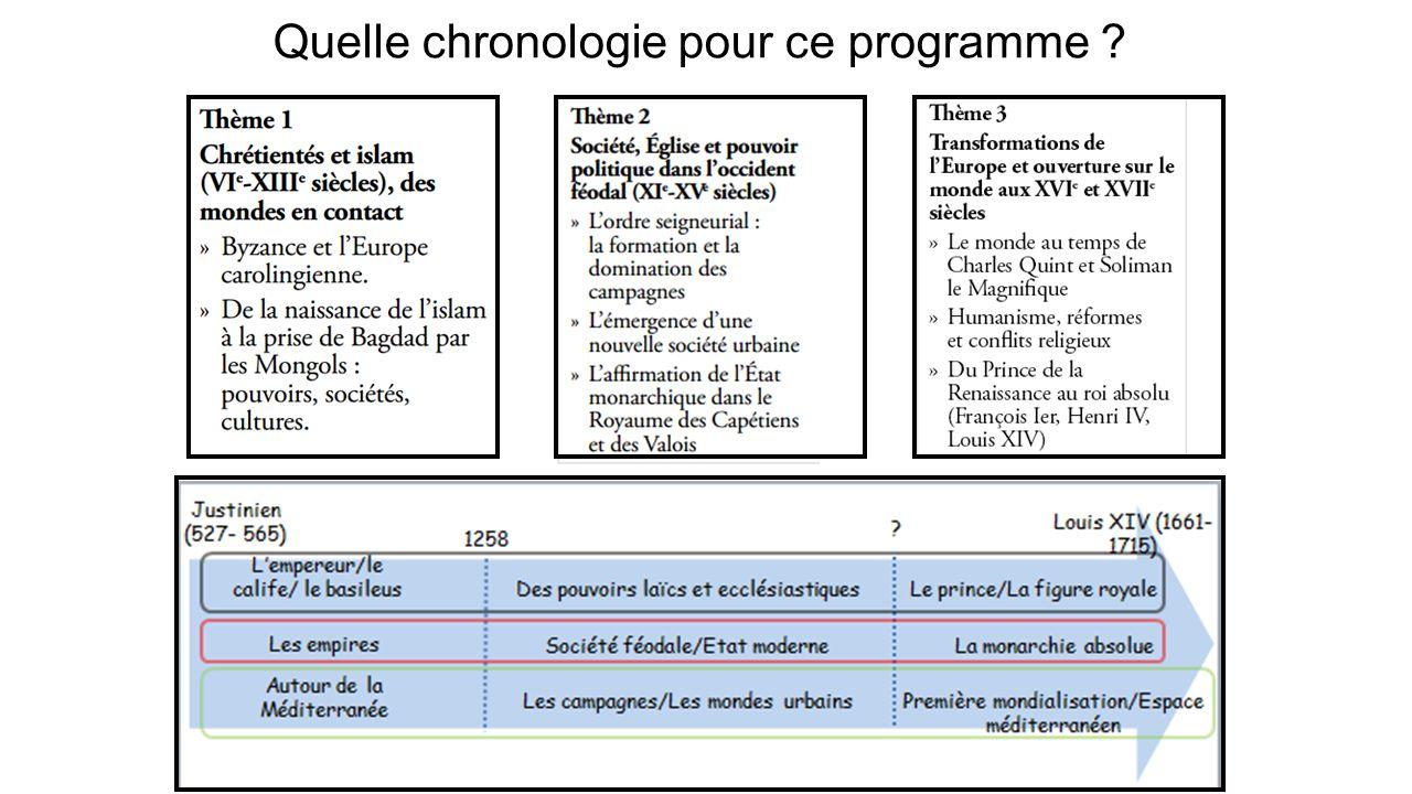 Quelle chronologie pour ce programme
