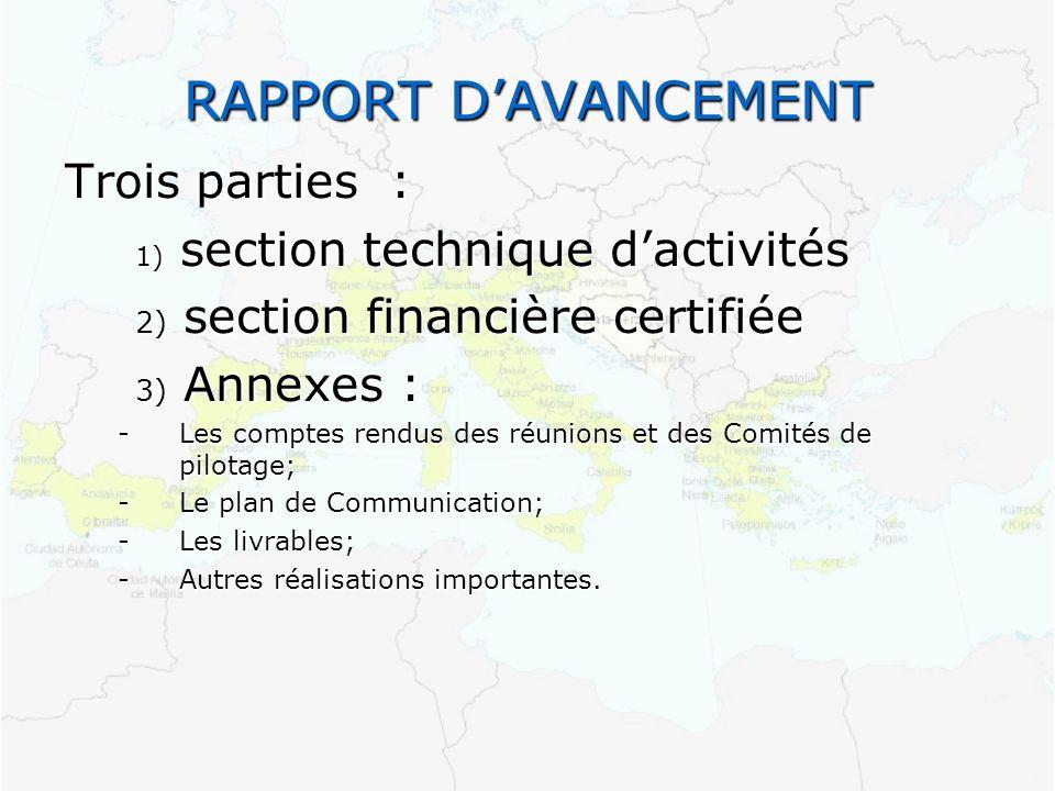 RAPPORT D'AVANCEMENT Trois parties : 1) section technique d'activités