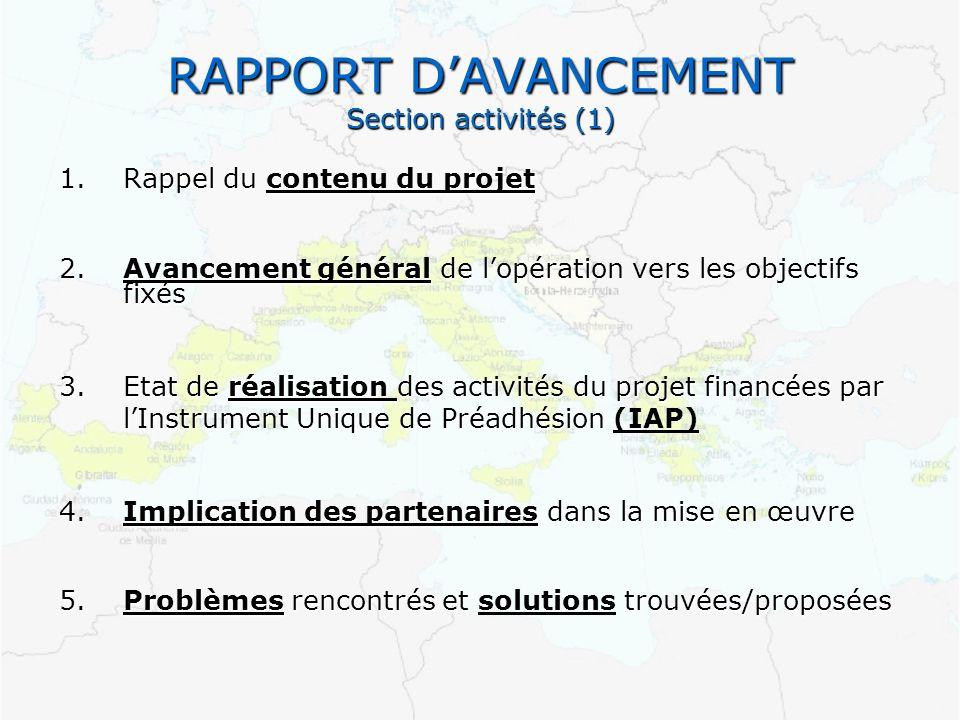 RAPPORT D'AVANCEMENT Section activités (1)