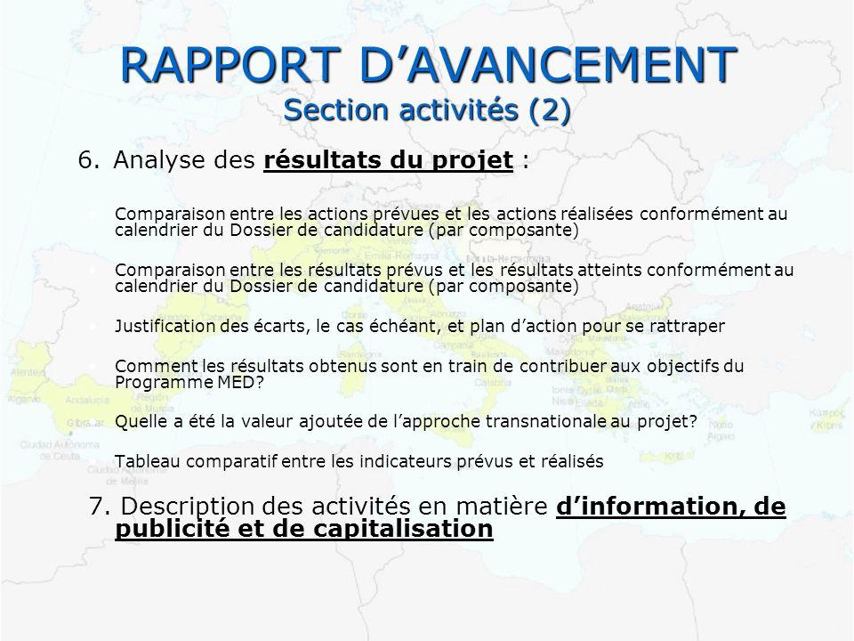 RAPPORT D'AVANCEMENT Section activités (2)
