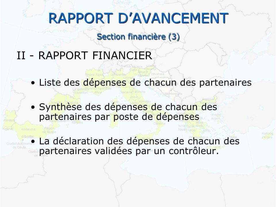 RAPPORT D'AVANCEMENT Section financière (3)
