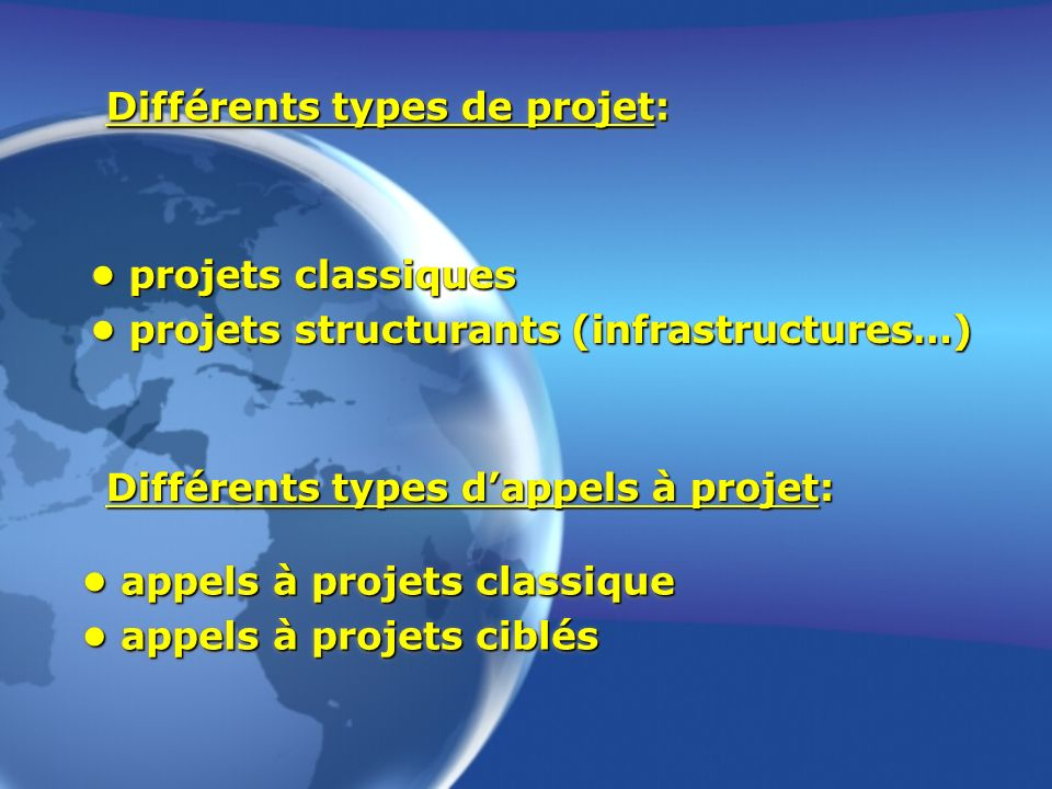 Différents types de projet: