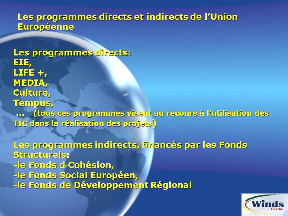 Les programmes directs et indirects de l'Union Européenne