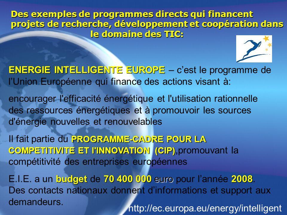Des exemples de programmes directs qui financent projets de recherche, développement et coopération dans le domaine des TIC: