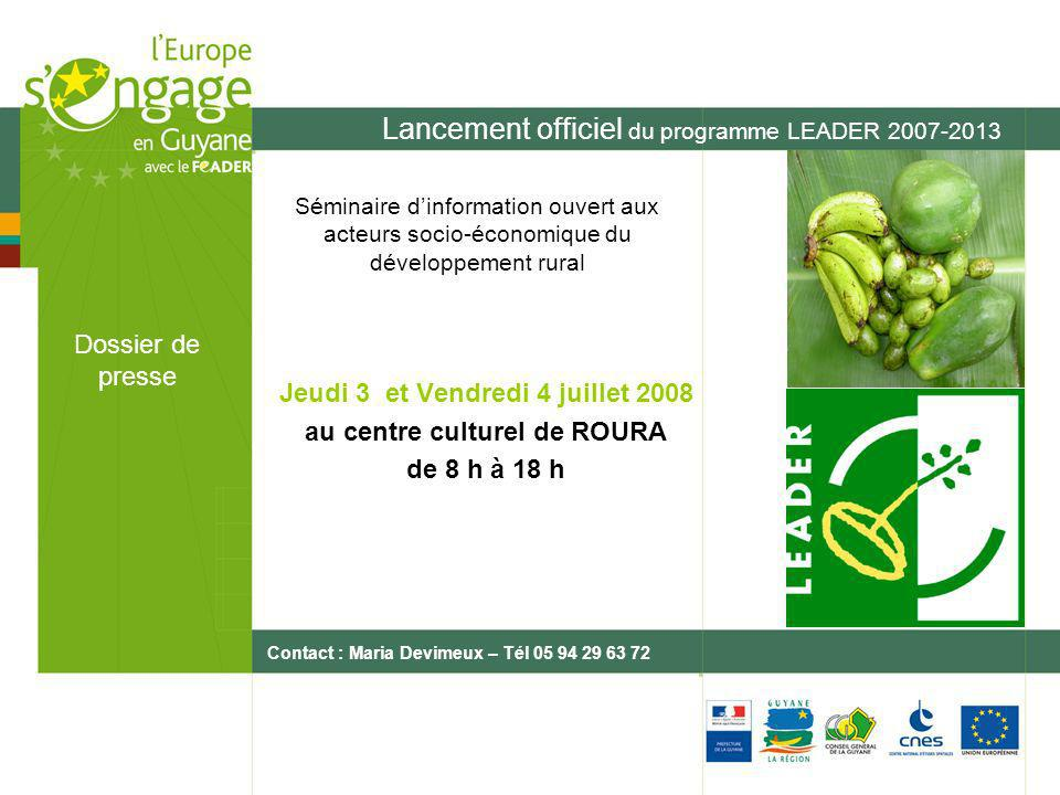 Lancement officiel du programme LEADER 2007-2013