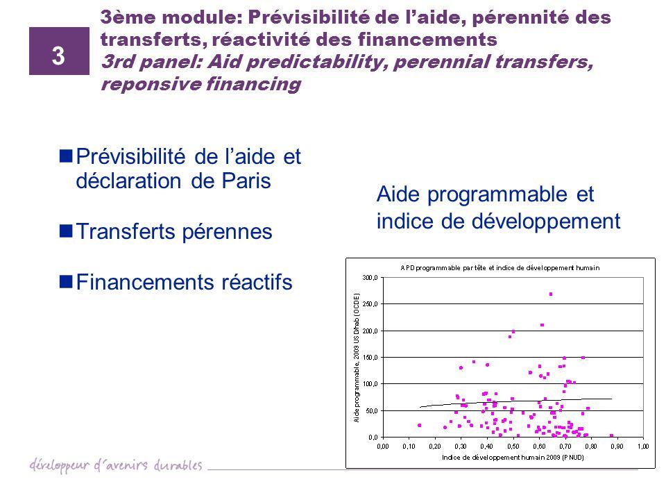 3 Prévisibilité de l'aide et déclaration de Paris Transferts pérennes