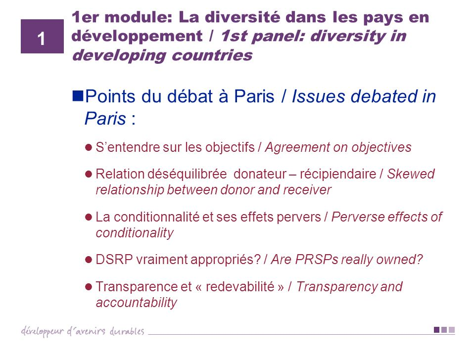 Points du débat à Paris / Issues debated in Paris :