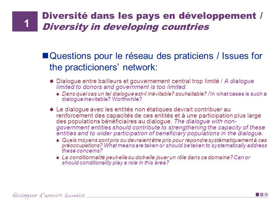 Diversité dans les pays en développement / Diversity in developing countries