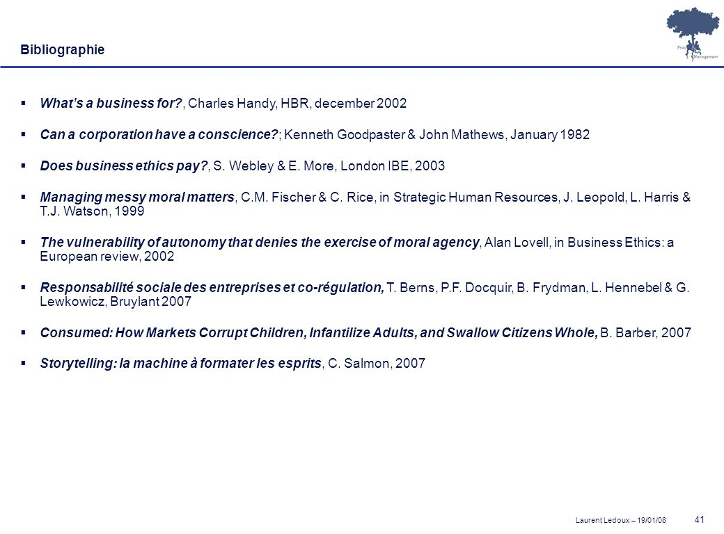 Bibliographie What's a business for , Charles Handy, HBR, december 2002.
