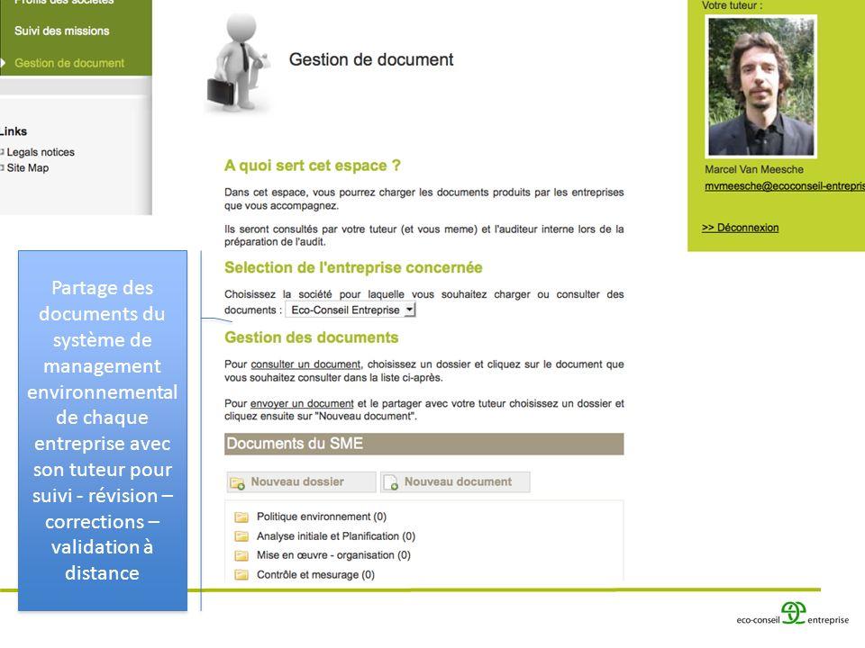 Partage des documents du système de management environnemental de chaque entreprise avec son tuteur pour suivi - révision – corrections – validation à distance