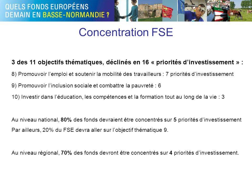 Concentration FSE 3 des 11 objectifs thématiques, déclinés en 16 « priorités d'investissement » :