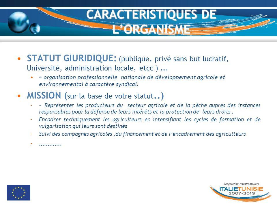 CARACTERISTIQUES DE L'ORGANISME
