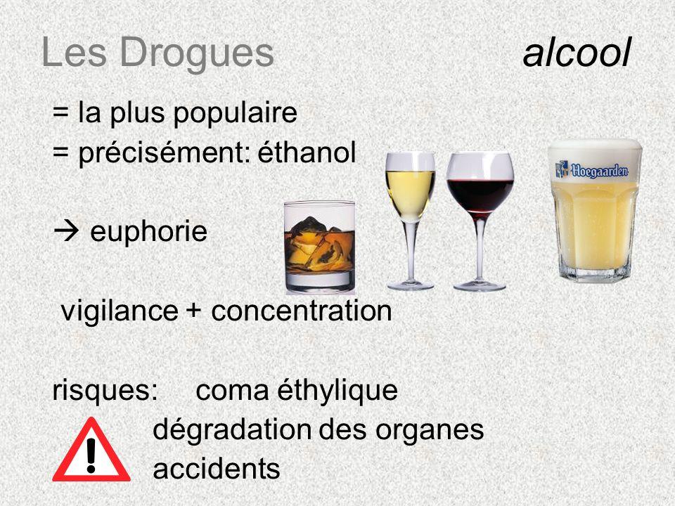 Les Drogues alcool = la plus populaire = précisément: éthanol