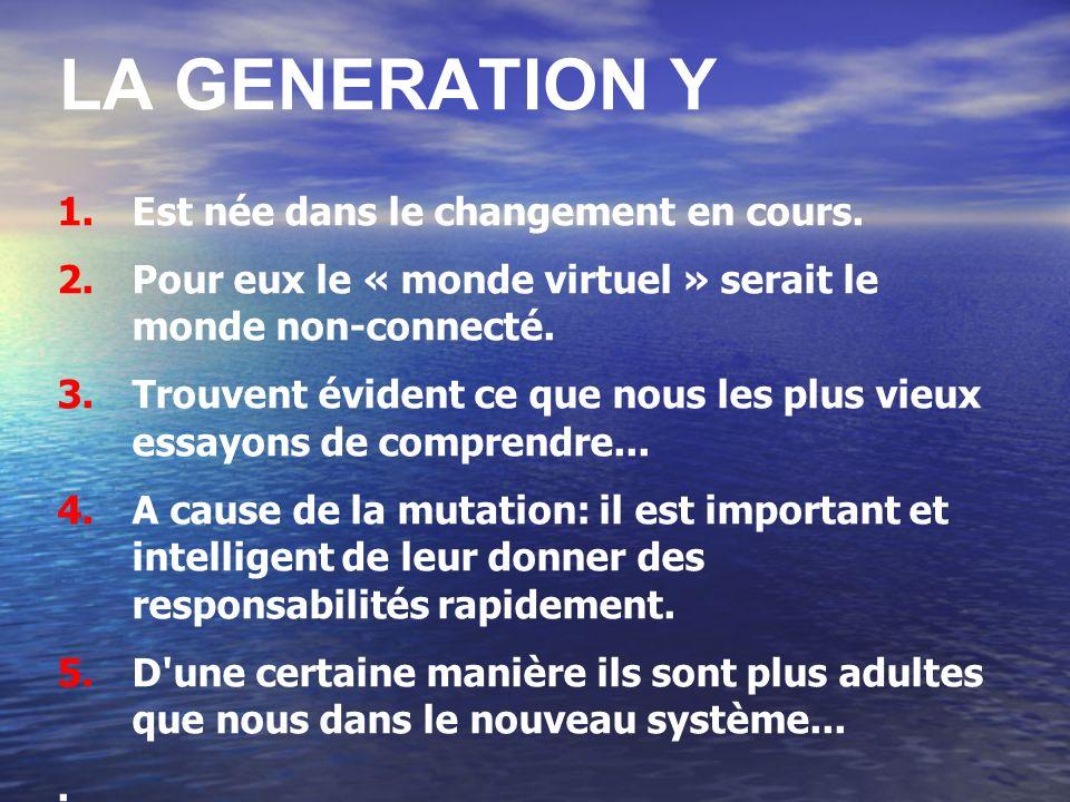 LA GENERATION Y Est née dans le changement en cours.