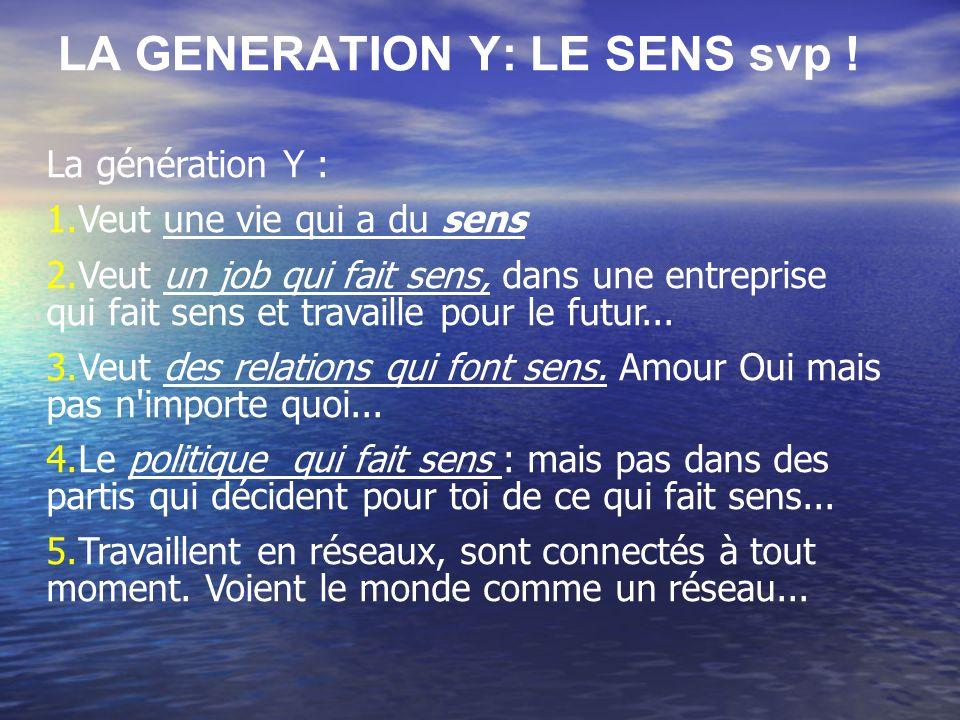 LA GENERATION Y: LE SENS svp !