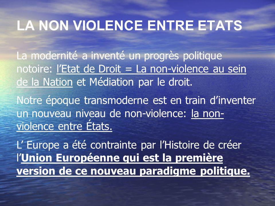LA NON VIOLENCE ENTRE ETATS