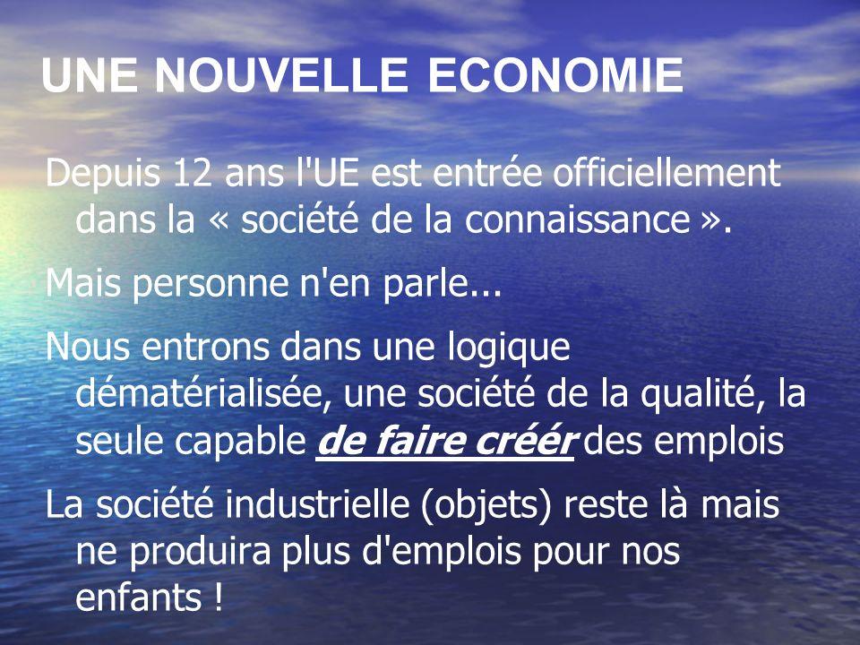 UNE NOUVELLE ECONOMIE Depuis 12 ans l UE est entrée officiellement dans la « société de la connaissance ».