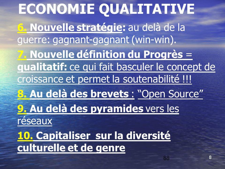 88 88. ECONOMIE QUALITATIVE. 6. Nouvelle stratégie: au delà de la guerre: gagnant-gagnant (win-win).