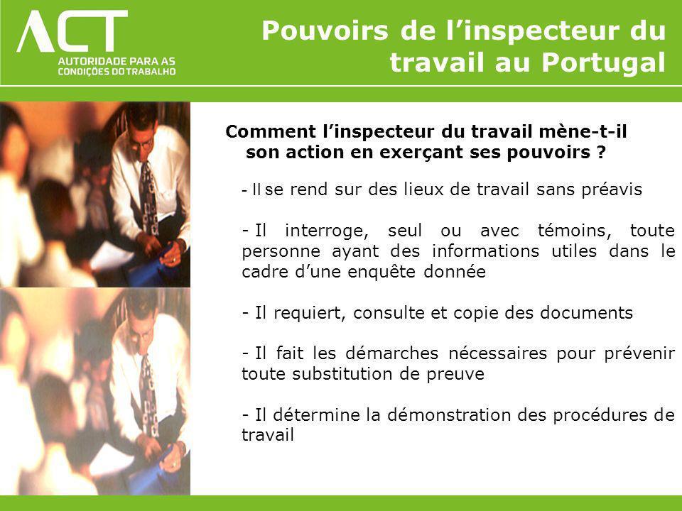 Pouvoirs de l'inspecteur du travail au Portugal