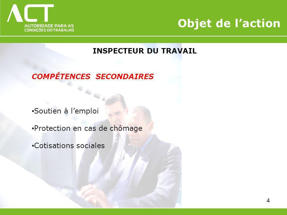 Objet de l'action INSPECTEUR DU TRAVAIL COMPÉTENCES SECONDAIRES