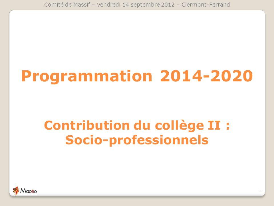Comité de Massif – vendredi 14 septembre 2012 – Clermont-Ferrand