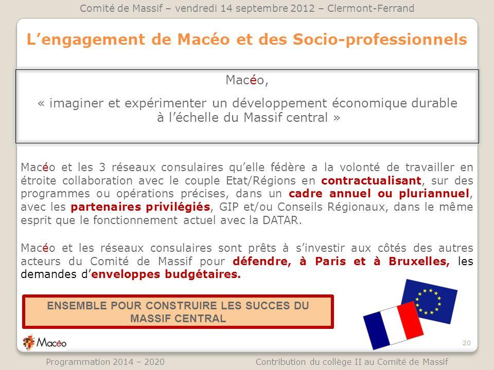 L'engagement de Macéo et des Socio-professionnels