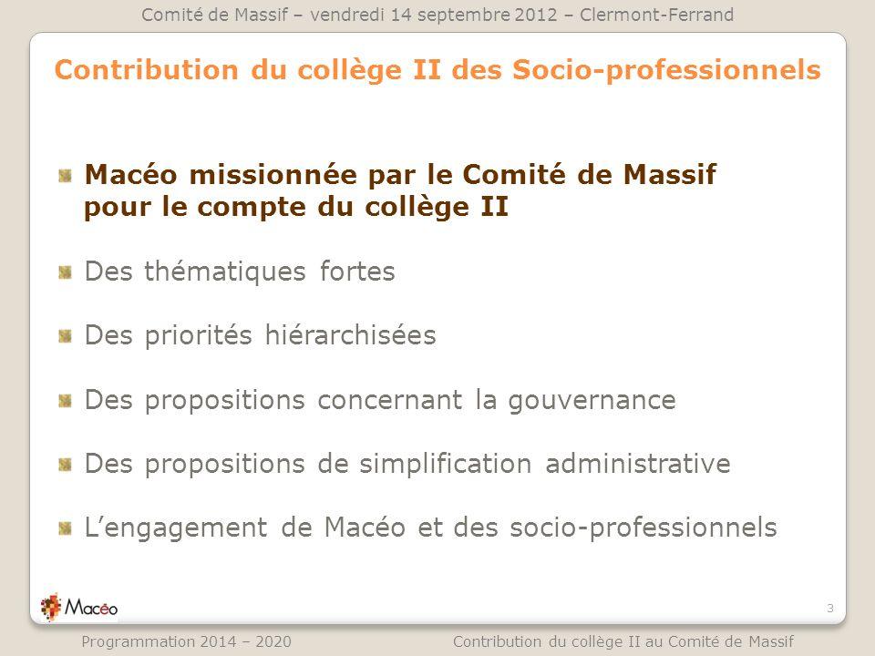 Contribution du collège II des Socio-professionnels
