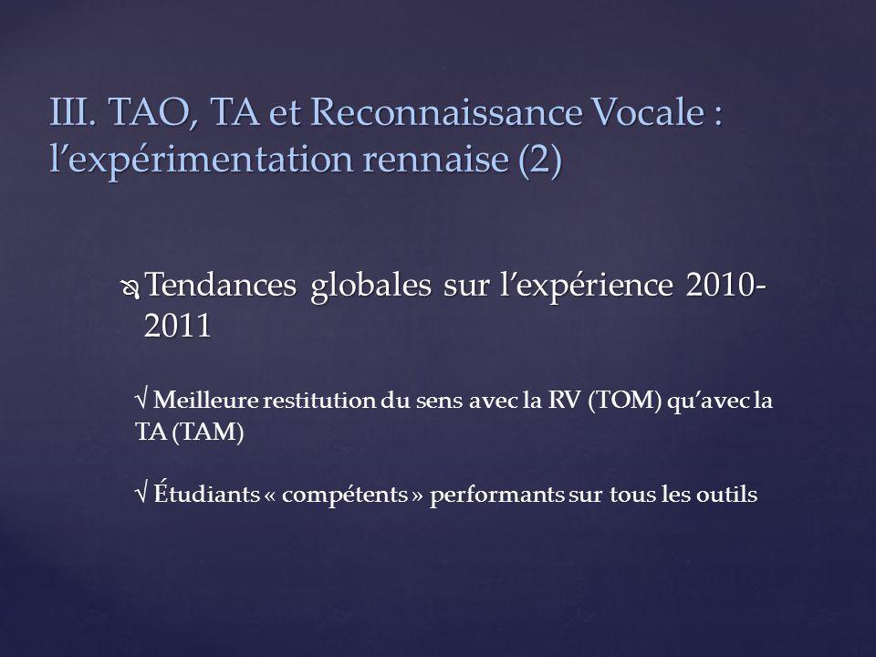 III. TAO, TA et Reconnaissance Vocale : l'expérimentation rennaise (2)