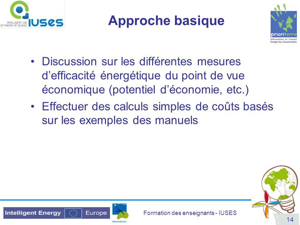 Approche basique Discussion sur les différentes mesures d'efficacité énergétique du point de vue économique (potentiel d'économie, etc.)