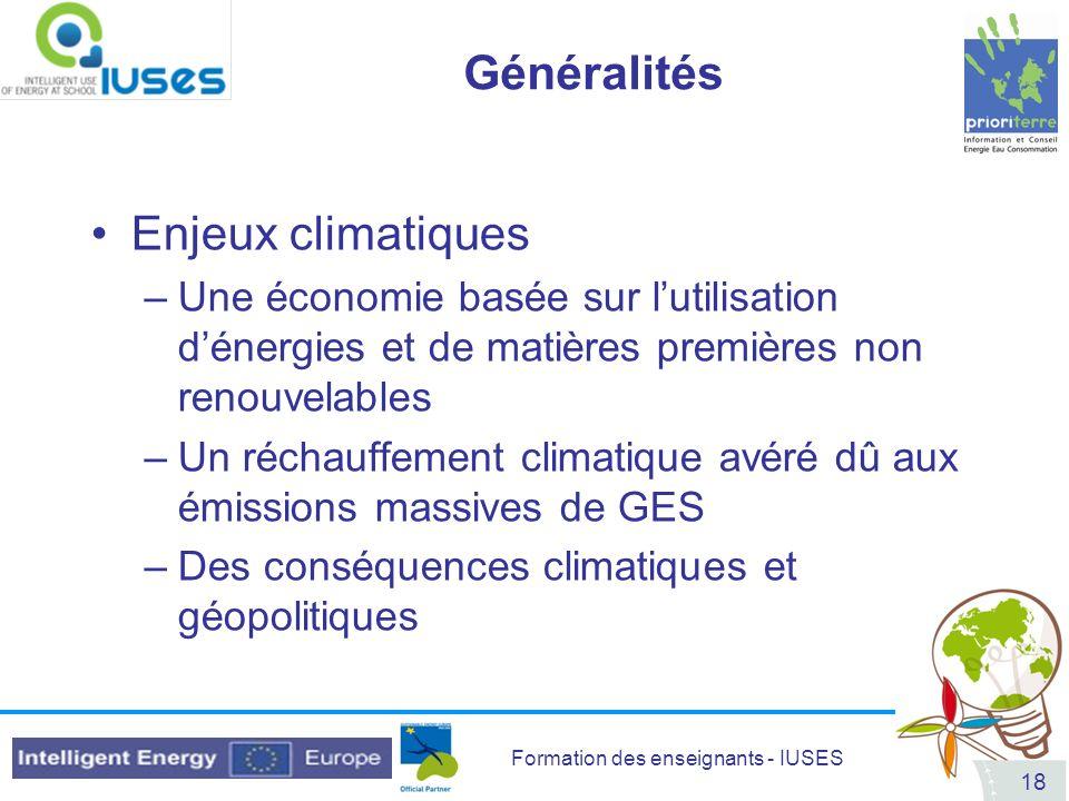 Généralités Enjeux climatiques