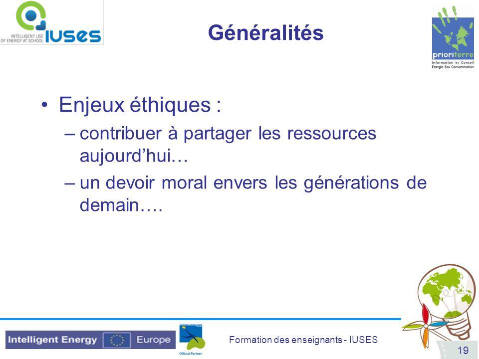 Généralités Enjeux éthiques :