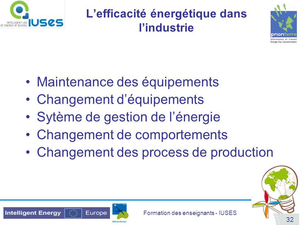 L'efficacité énergétique dans l'industrie