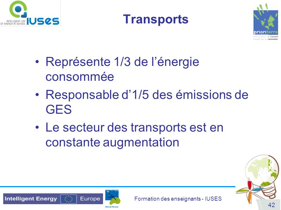 Transports Représente 1/3 de l'énergie consommée. Responsable d'1/5 des émissions de GES.